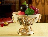 Wholesale Porcelain fruit bowl ivory porcelain flower design embossment outline in gold modern fruit bowl table fruit bowl wedding gifts