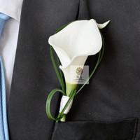 Hand Made Белый Калла цветок корсаж Грум дружки Свадеб Человек Бутоньерка Pin Брошь Украшение