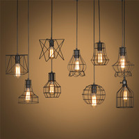 Wholesale Retro Lamp Shades Industry Metal Pendant Lamps Holder Vintage Style Iron Hanging Light Shade Edison Bulb Covers Drop light Shipping
