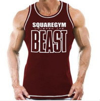 Men beat man - Spring summer hot beat the beast printing short sleeved cotton vest male fitness loose elastic muscle movement
