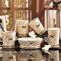 Wholesale Porcelain bathroom sets ivory porcelain god horse design embossed outline in gold five piece set accessories bathroom sets gifts