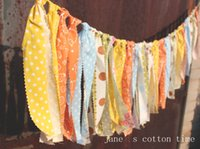 Wholesale new arrived orange garland rag tie banner fabric bunting m Baby Shower Wedding deco Party Decor