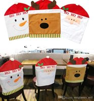 Wholesale Christmas Chair Back Covers Elk Snowman Chair Cover Santa Clause Red Hat Chair Back Covers Christmas Decorations Dinner Table Decor PPA474