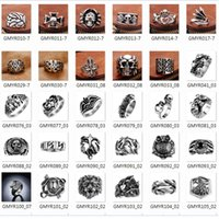 animal skeleton models - New men s punk style hip hop stainless steel Cluster rings skeleton animal flower cross letters mixed modelling