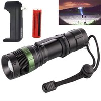 Wholesale LED Torches Flashlight Portable Lighting With Battery and Charger Zoomable Cree LED Flashlight Mini Lantern Rechargeable Flashlights
