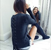 Wholesale Women Sweaters And Pullovers Winter Back Bandage Solid Slim Fit Femininas Knitted Pullovers Sweater Women Clothing