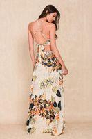 Vestido bohemio del estilo del boho de la impresión larga de la flor Dos pedazos backless halter cruzan las mujeres vestidos maxi vestidos