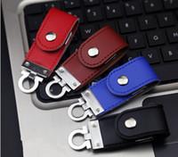 al por mayor unidades flash usb de cuero-El paquete al por menor pendrive de la impulsión de la pluma del palillo de la memoria del USB 2.0 del USB 2.0 del cuero 4-16GB libera el envío
