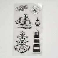 Wholesale TPR silicon clear Stamp Lighthouse Sailboat Design DIY Scrapbooking Card Making Decoration Supplies