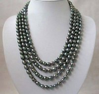 akoya rice pearl necklace - Hot Sale beautiful Popular new Long quot mm Natural Rice Black Akoya Cultured Pearl Necklace