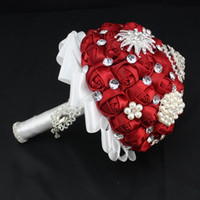big glass wine - 2017 Pearls Glass Crystal Wine red Rose Women Wedding Holding Flowers Beads Lady Big Girls Bridal Rhinestones Bridal Bridesmaid Bouquets