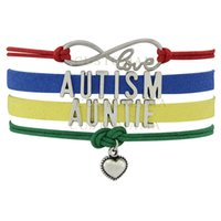 best autism - Custom Infinity Love Autism Auntie Awareness Ribbon Charm Women s Mens Colorful Leather Multilayer Wrap Bracelet Best Gift Custom