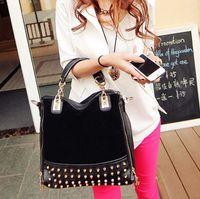 bamboo fleece fabric - New handbag Europe rivet fleece single shoulder bag handbag fashion handbag Xiekua package