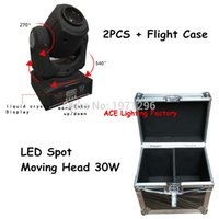 240V Stage Lighting Effect SHHZT-SPMH30W Flight Case with 2 pieces lot LED 30W Spot Light DMX512 Master-Slave Auto Run Sound controller Moving Head Light DJ Bar Disco