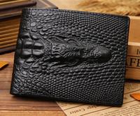 Cartera de cuero de cuero de vaca para hombre Crocodilo de grabado en relieve Hombre Real de cuero carpeta de chequera organizador de ranuras para tarjetas de pasaporte de dinero