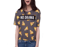 Wholesale Vogue of new fund of ms t shirts printed letters printing jacket pizza women s T shirt NO DRAMA sent free of charge