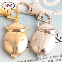 beetle watch - Retro cute cartoon watch list flip bronze scarab beetle clothing chain quartz watch Keychain