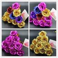 Wholesale PC k Gold Foil Plated Rose Gold rose Wedding Decoration Golden Rose Decor Flower flores artificiales para decoracion