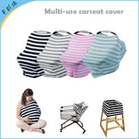 Wholesale Small Knited Printing Stripe Stretchy in Multi Function Infant Shopping Cart Breathable Baby Car Seat Canopy Cover