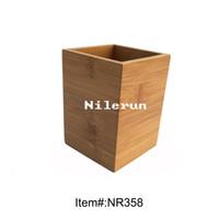 Wholesale square carbonized bamboo pen holder pencil vase