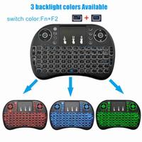 Precio de Distancia de vuelo-2017 teclado inalámbrico 2.4G volar aire ratón rii I8 touchpad batería incorporada 10 metros de distancia de funcionamiento color blanco negro 3 colores retroiluminados