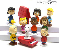 Wholesale Peanuts Snoopy movie Cartoon Action Figures styles Anime figurine Charlie Brown Lucy Playset Toy Cake Topper Decoration Doll Figure Gift