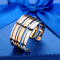Wholesale 316L New Women Gold Silver Hair Tie Band Bracelets Women Keep Bands Stainless steel Cuff Bangle Wristband Grooved