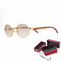 luxury 18k gold sunglasses for metal frames glasses men real wooden designer sun glasses gold glasses frame with case and box ct55 22