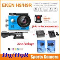 Acheter Wifi hd-Appareil photo original EKEN H9 H9R télécommande Ultra HD 4K WiFi HDMI 1080p 2.0 LCD 170D pro Sports imperméable + batterie supplémentaire + chargeur de station d'accueil