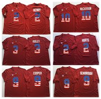Wholesale Alabama Crimson Tide Red RIDLEY HENRY COOPER McCARRON HURTS SCARBROUGH Men Flag Jersey