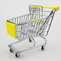 Wholesale New Fashion Mini Supermarket Hand Trolleys Mini Shopping Cart Desktop Decoration Storage Phone Holder Baby Toy