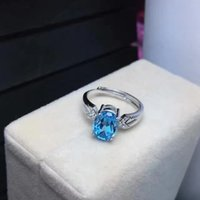 Wholesale Luxury ellipse blue topaz Crystal Ring Sterling Silver Fashion Silver Jewellery Rings JR008