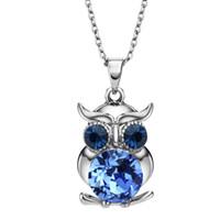 al por mayor joyas de cristal collar largo-Neoglory azul austriaco cristales buho Maxi Boho largo colgantes collares colgantes para las mujeres Madre Chica Regalos Moda Joyería