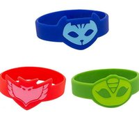 animal wrist bands - PJ Masks Bracelet Animal printed colors Slicone Wristband For Boys Girls Luminous Catboy Owlette Gekko Connor Greg Amaya Wrist band