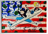 Wholesale Framed Alec monopoly POP ART Paintings American Airplane Handpainted Cartoon Graffiti oil painting Wall Art On Canvas Multi Sizes TY016
