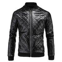 Wholesale 2017 Winter Men Clothes men s Faux leather Coat British men s Argyle leather jacket D039