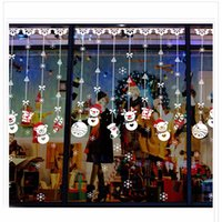 Wholesale Removable Christmas shop window decoration Christmas glass stickers Christmas Snowman ornaments Strap window stickers