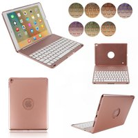 Wholesale Colorful Keyboard Tablet Covers - hot sale tablet case IPad pro 9.7 colorful backlight aluminum alloy flip cover wireless Bluetooth keyboard case