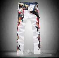 Wholesale The men s four new white jeans men s feet are high elastic large Robin Jeans for men