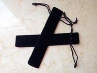 Wholesale 200pcs Pen pocket Black velvet pen bag with rope Fabric cloth pencil pouch cm DL_BX002