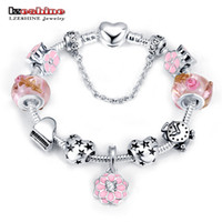 antique glass christmas beads - LZESHINE Christmas Flower Charms Bracelets Bangles Antique Silver Plate Snake Chain Glass Beads Bracelets fit European Jewelry