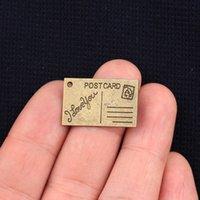 La venta al por mayor-26 * 16m m el nuevo bronce de la antigüedad de la manera 15pcs / lot 2015 plateó la postal colgante de los encantos hechos a mano