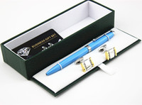 Wholesale Luxury Senior Extra Fine Metal blue Ballpoint Pen with for Gift Cufflinks