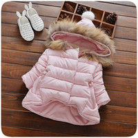 Wholesale Lovely Baby Girls clothes Winter Hooded Down Coat Kids clothing Colors Thicken Parkas Jacket Clothes Christmas children Clothing