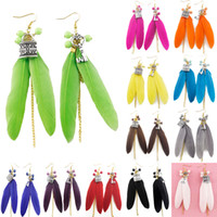 Wholesale Feather Earrings Colors Cute Bead Key Lock Light Dangle Eardrop Hot Brown Purple Blue Green Yellow Orange White JF126