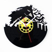 Wholesale 45yd Retro CD Vinyls Record Vinyl Wall Clocks Batmans Classic Film And Television Mute Batman Clocks Creative Cartoon