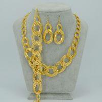 arab brazil - Africa Set Jewelry Wedding Necklaces Earrings Bracelets K GOLD PLATED Jewelry Nigeria Brazil Cuba Arab Necklace sets