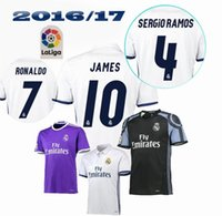 Wholesale Top Quality Real madrid Jerseys Uniforms RONALDO Home White Away Puple JAMES BALE RAMOS ISCO MODRIC Spain Football Shirts