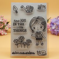 accounting tools - Clear stamp clear Scrapbook DIY photo cards account rubber stamp transparent stamp Garden Tool Bee Flower Girl find joy x16cm