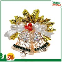 bell pin metal - AL047 A American Charms K Gold Plated Alloy Metal Christmas Bells Brooch Rhinestone Fashion Pins Hot Sale White Bowknot Lapel Pins